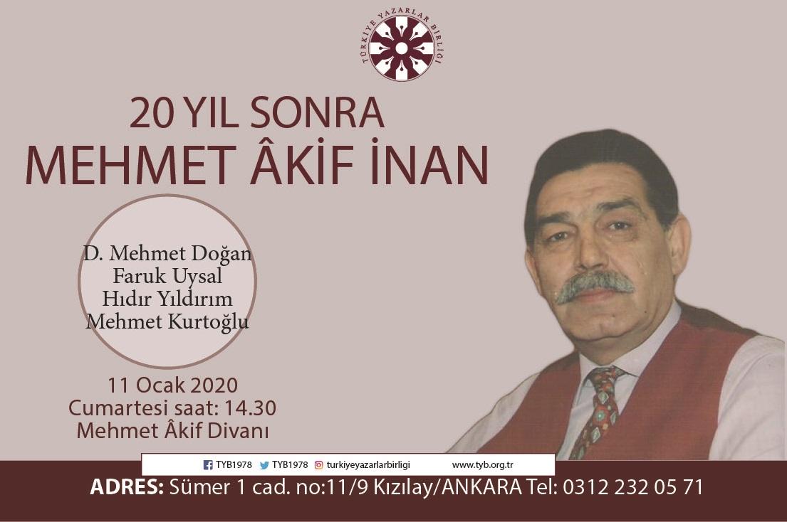 Mehmet Âkif İnan TYB'de yâd edilecek