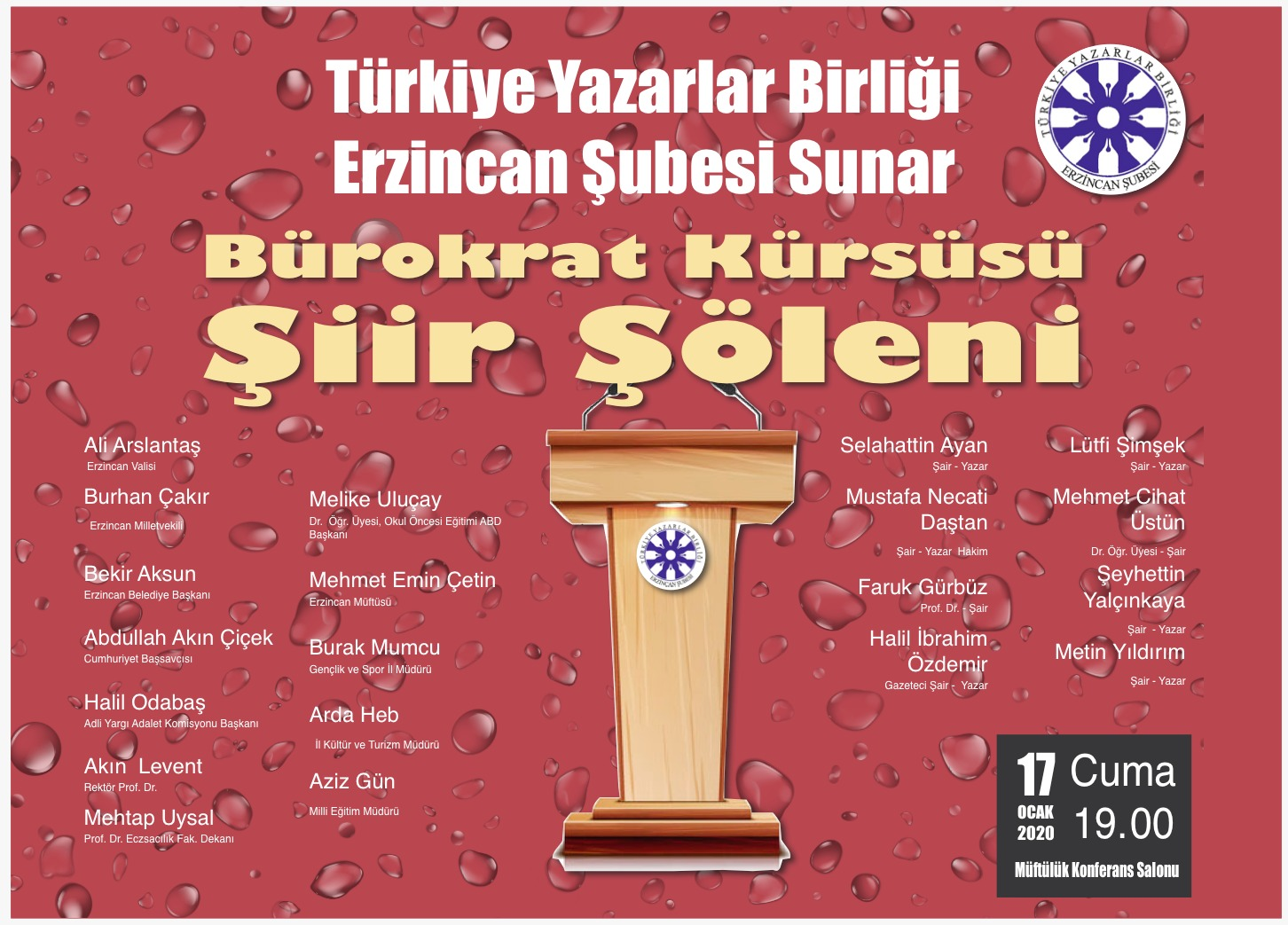 Erzincan'da 'Bürokrat Kürsüsü Şiir Şöleni' Düzenlenecek
