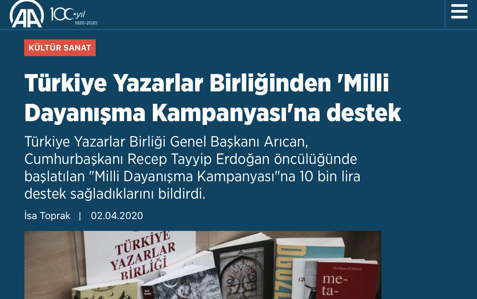 Türkiye Yazarlar Birliğinden 'Milli Dayanışma Kampanyası'na destek