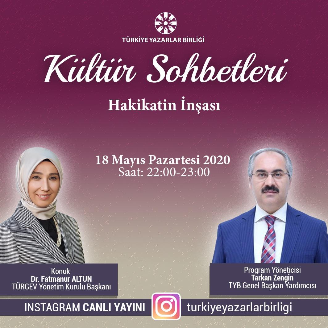 """TÜRGEV Başkanı Altun, """"Kültür Sohbetleri""""ne Konuk Olacak"""