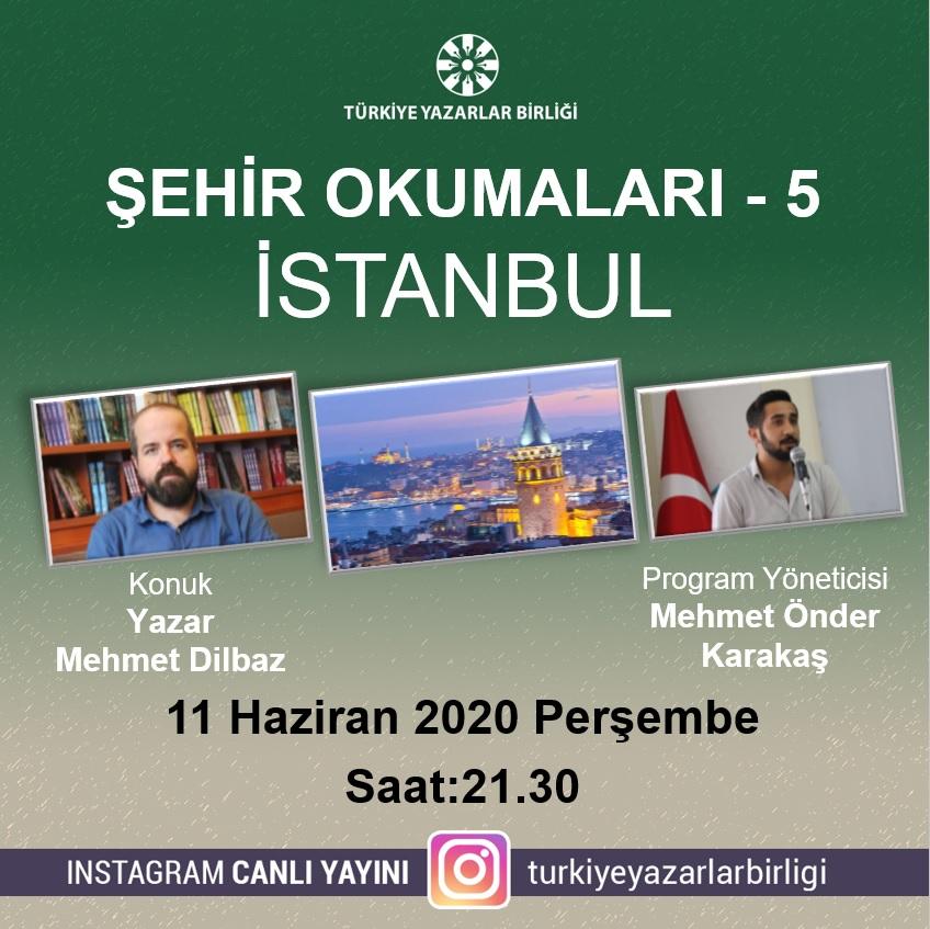 """Yazar Mehmet Dilbaz """"Şehir Okumaları""""na konuk olacak"""