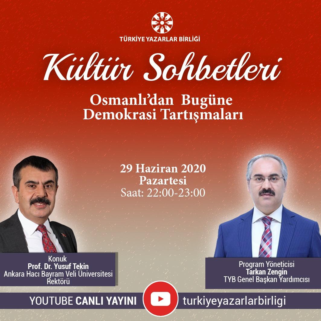 """Prof. Dr. Yusuf Tekin: """"Kültür Sohbetleri""""ne Konuk Olacak"""