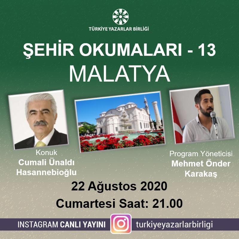 """Cumali Ünaldı Hasannebioğlu """"Şehir Okumaları""""na konuk olacak"""