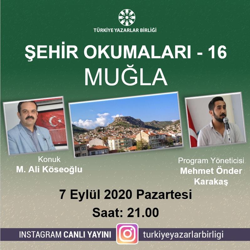 """M. Ali Köseoğlu """"Şehir Okumaları""""na konuk olacak"""