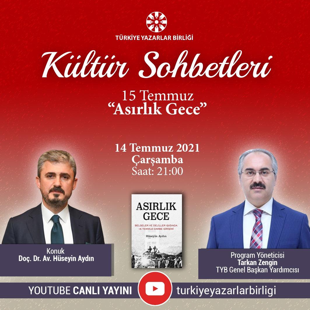 """Doç. Dr. Av. Hüseyin Aydın """"Kültür Sohbetleri""""ne Konuk Olacak"""