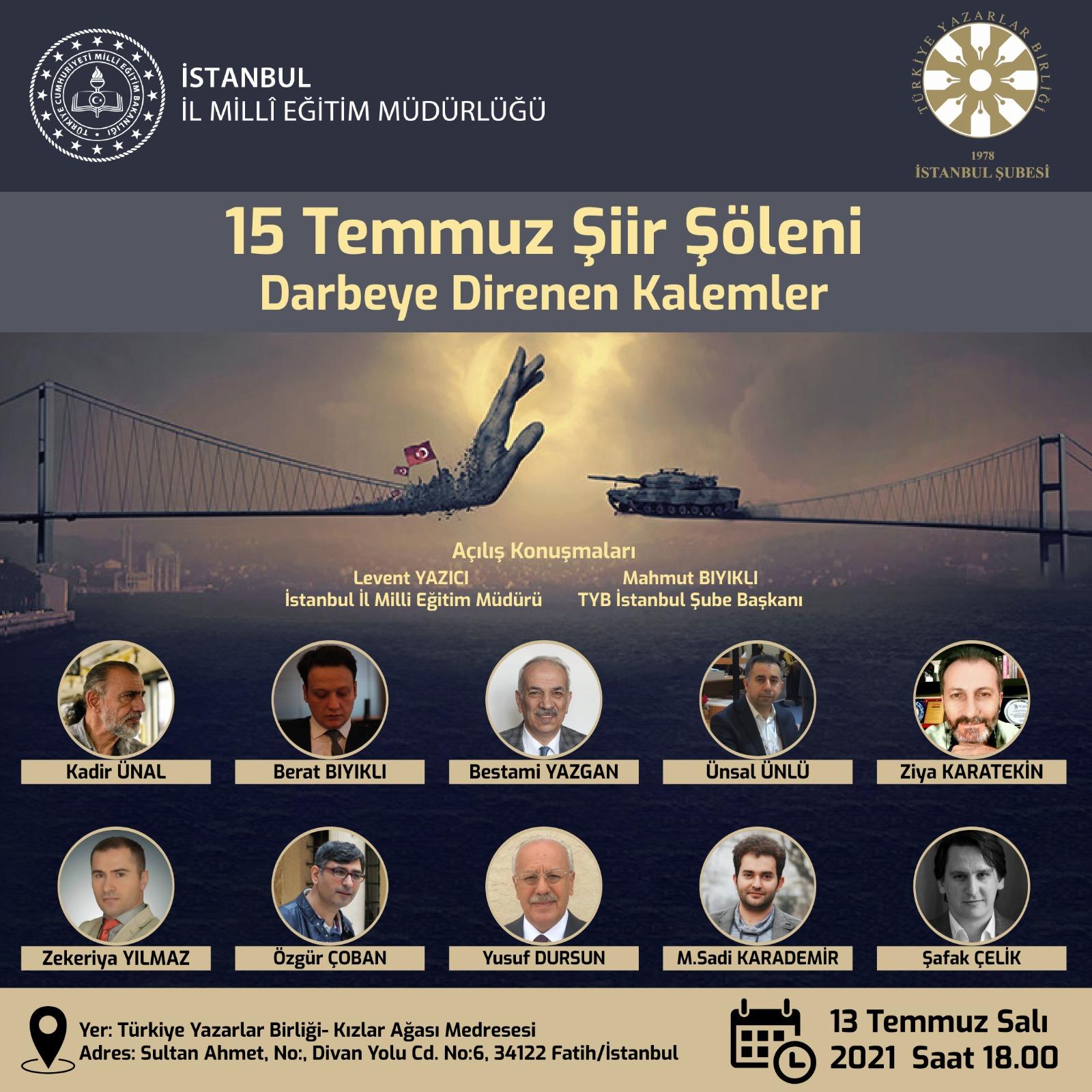 """İstanbul'da """"15 Temmuz Şiir Şöleni"""" gerçekleştirilecek"""