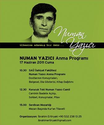 17 Haziran'da Numan Yazıcı'ya Anma Programı
