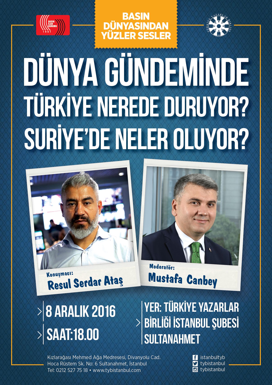 TYB İstanbul'da Türkiye'nin Dünya Gündemindeki Yeri Konuşulacak