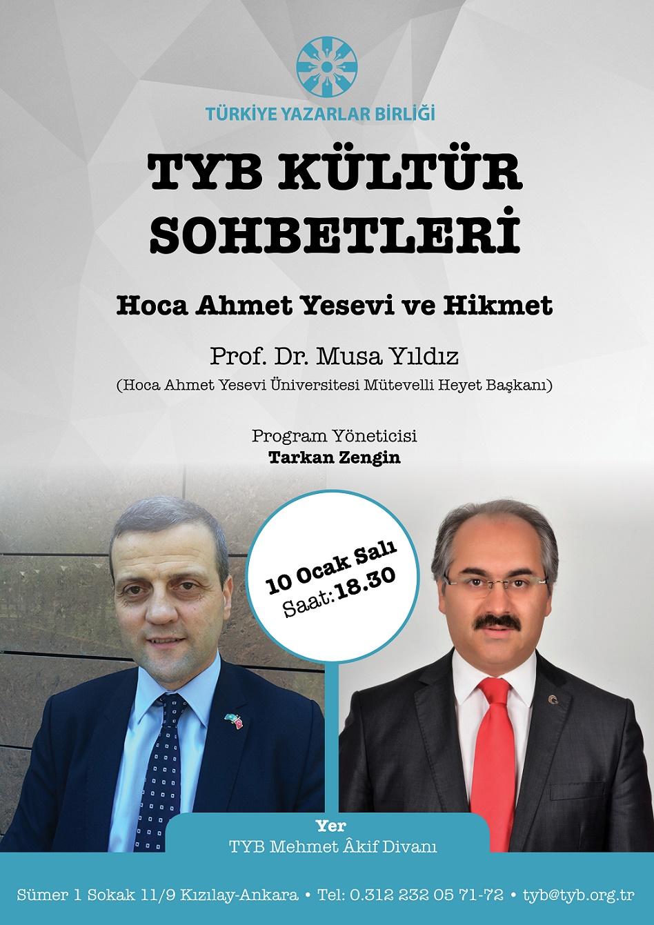 TYB Kültür Sohbetlerinin konuğu: Prof. Dr. Musa Yıldız
