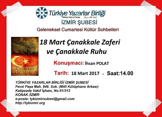 TYB İzmir Şubesinde 18 Mart Çanakkale Zaferi ve Çanakkale Ruhu