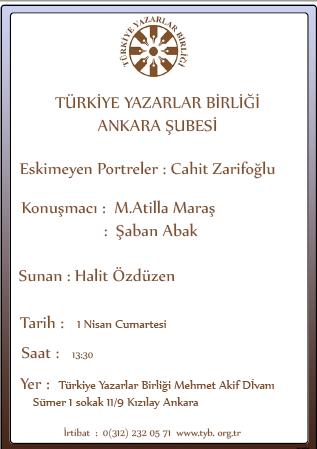 Eskimeyen Portreler: Cahit Zarifoğlu programı 1 Nisan'da TYB'de