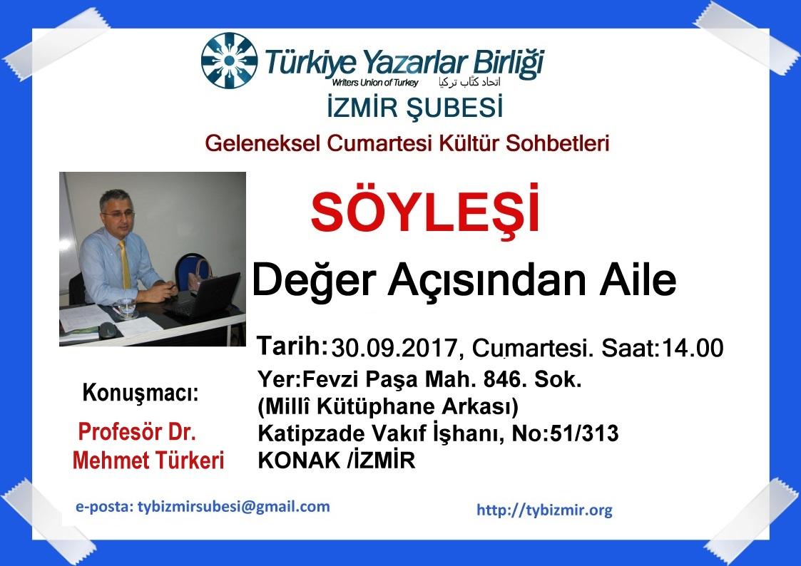 İzmir Şubesinin Cumartesi Sohbetleri Konuğu Prof. Dr. Mehmet Türkeri