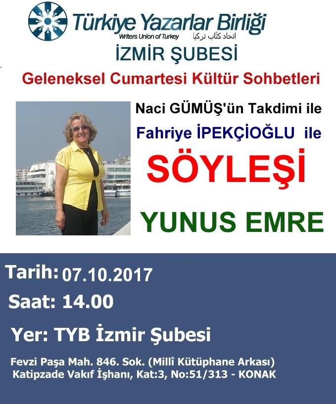 Türkiye Yazarlar Birliği İzmir Şubesi Geleneksel Cumartesi Kültür Sohbetleri
