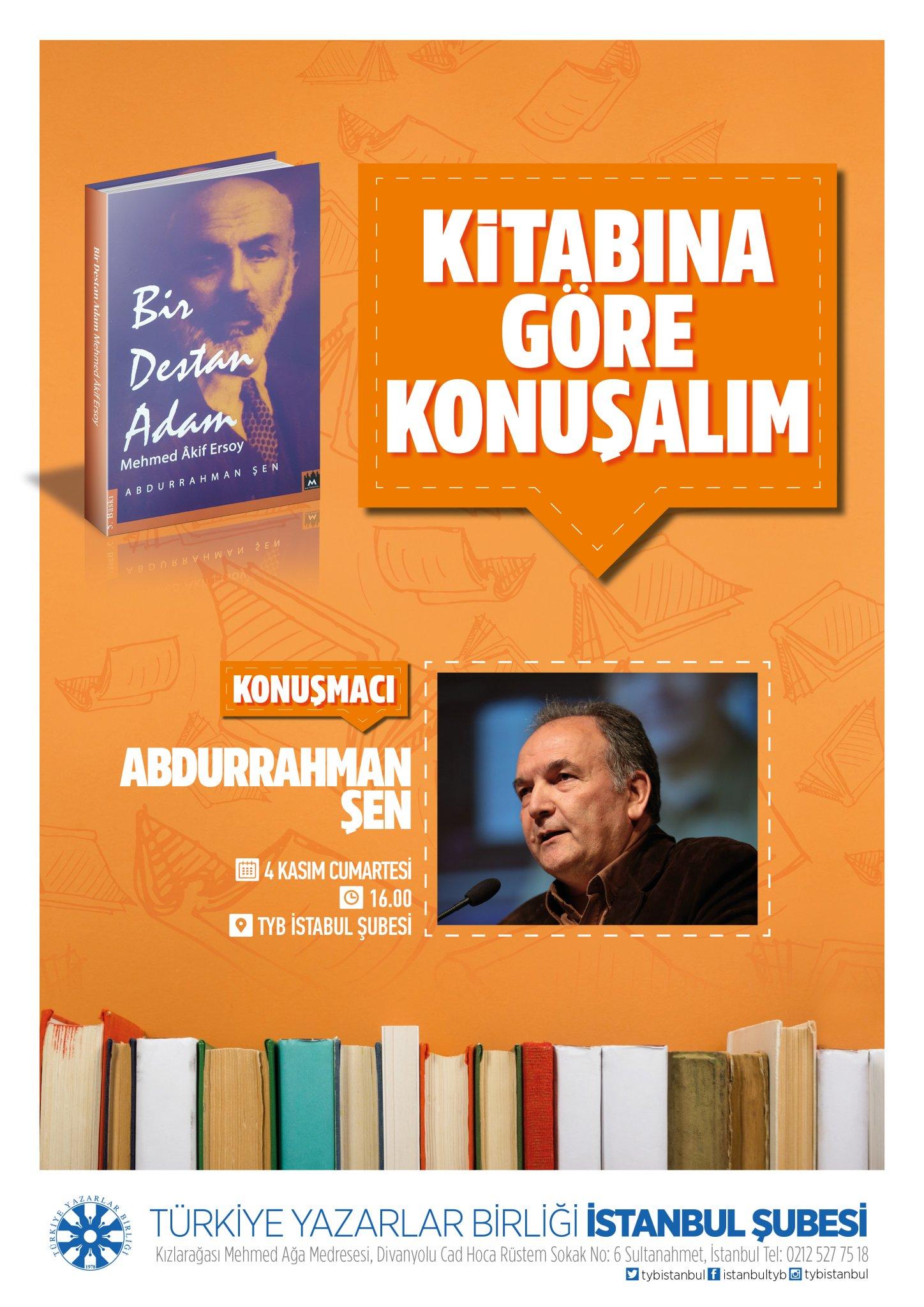 Abdurrahman Şen TYB İstanbul'da Konuşacak