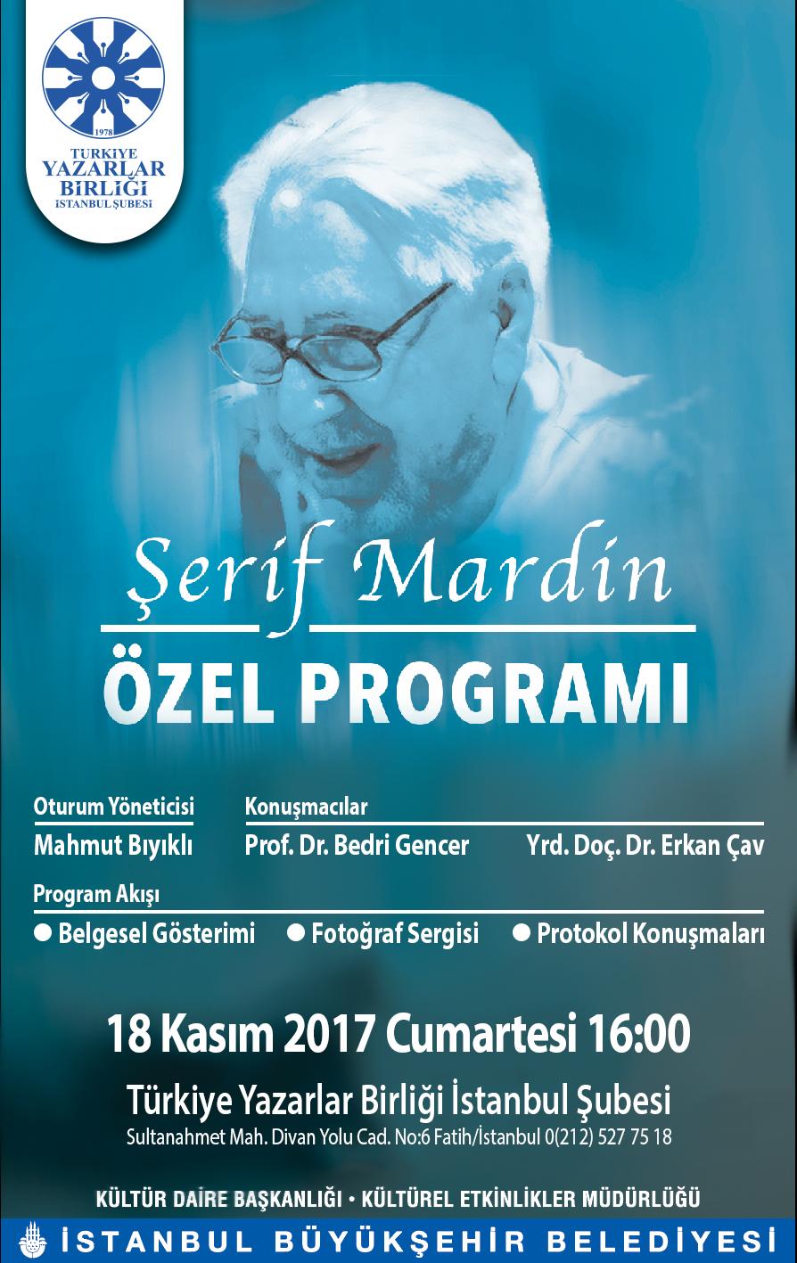 TYB İstanbul'da Şerif Mardin Anılacak