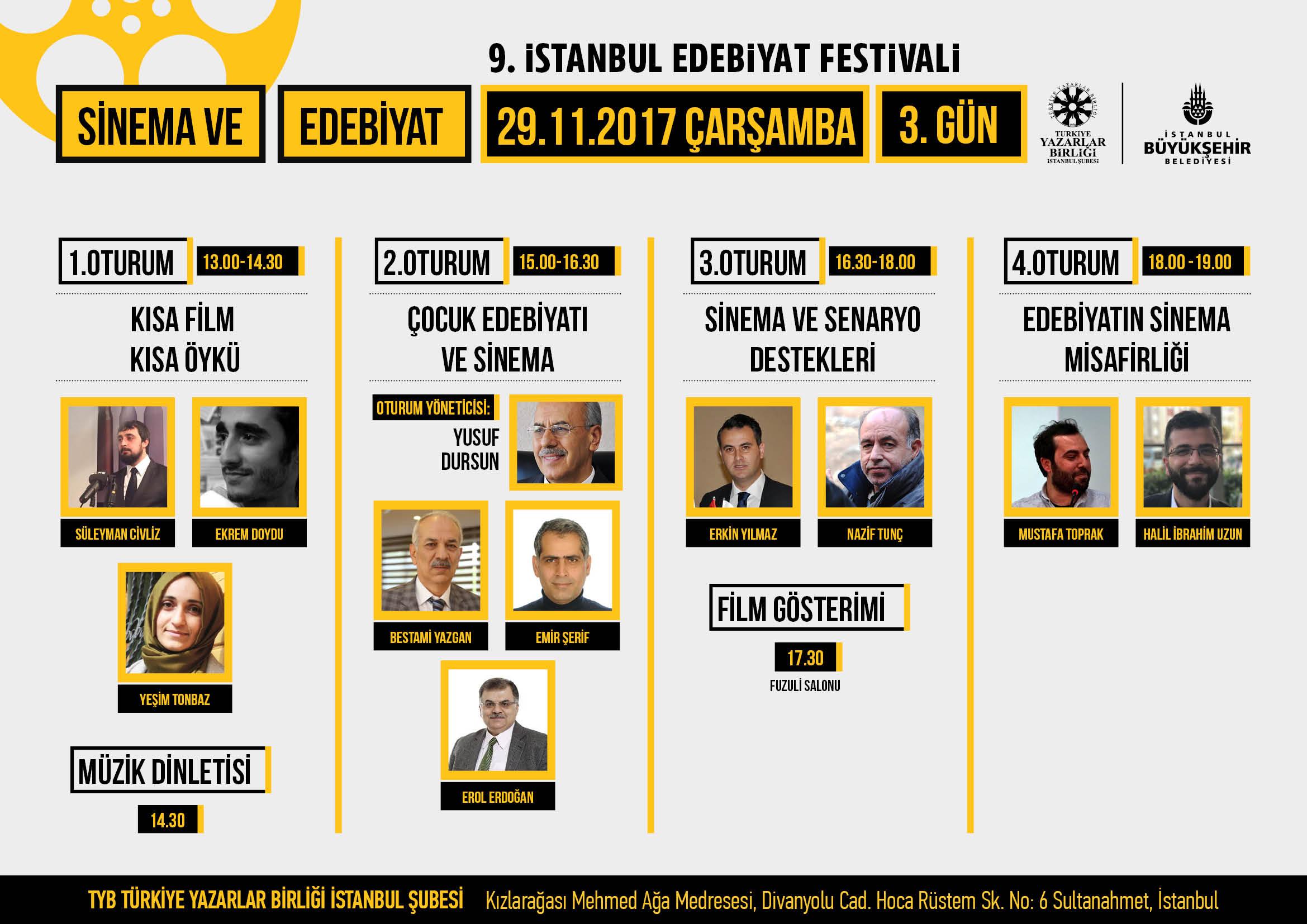9. İstanbul Edebiyat Festivali'nin Üçüncü Günü