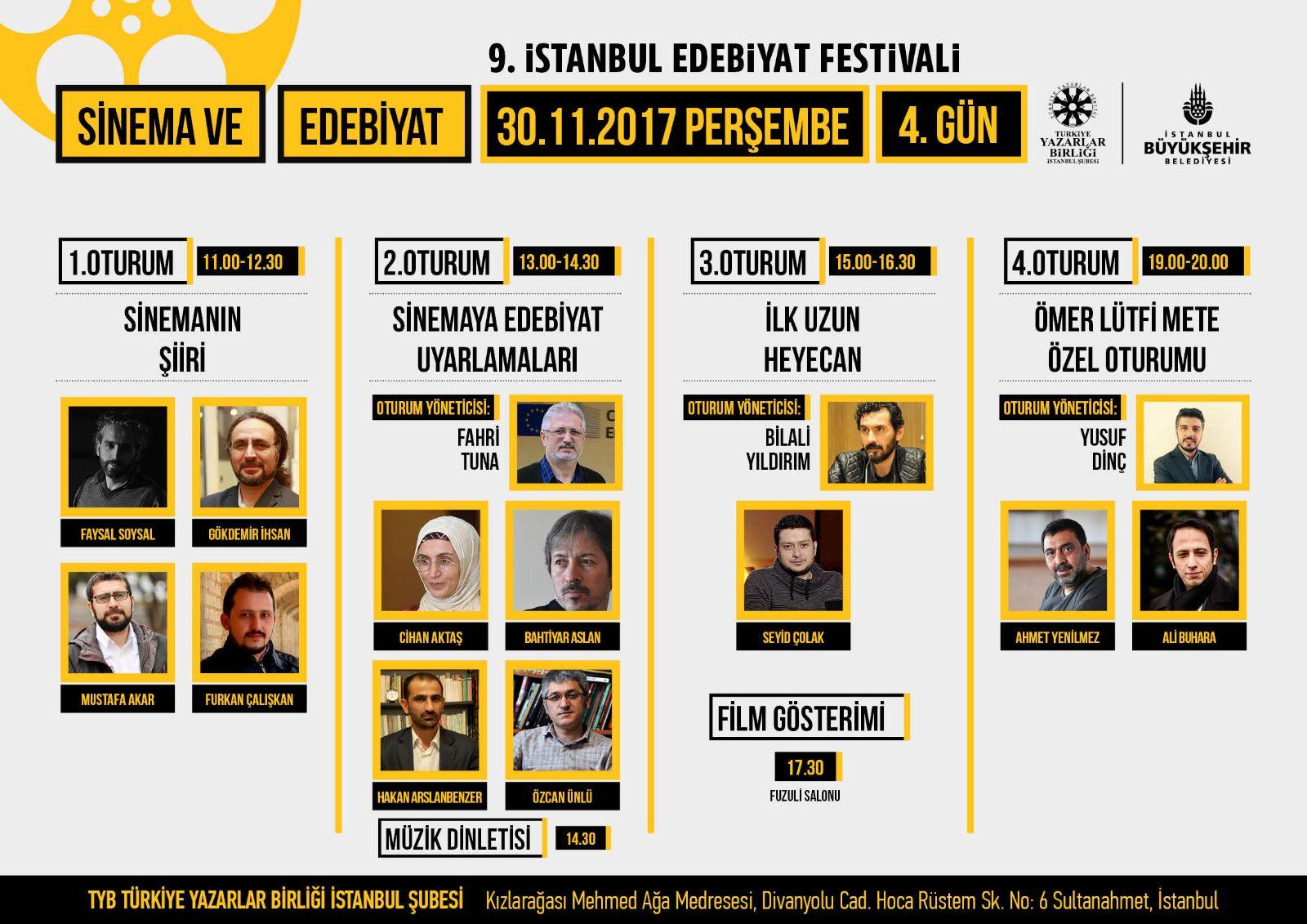 9. İstanbul Edebiyat Festivali'nin Dördüncü Günü