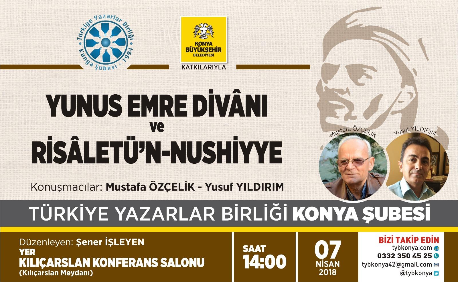 Konya Şubesi'nde Yunus Emre Divânı Risâletü'n-Nushiyye