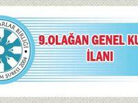 Erzurum Şubesi Olağan Genel Kurulu Yapılacak