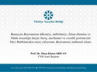TYB Genel Başkanı Arıcan'dan Bayram Mesajı
