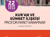 """Konya Şubesi'nde Prof. Dr. Fikret Karapınar ile """"Kur'an ve Sünnet İlişkisi"""""""