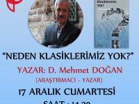 """D. Mehmet Doğan bugün Server Vakfı'nda """"Neden Klasiklerimiz Yok?"""" üzerine konuşacak."""