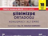 """Konya Şubesi'nde """"Şiirimizde Ortadoğu"""""""