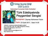 TYB İzmir Şubesi'nde Türk Edebiyatında Peygamber Sevgisi Cumartesi 14.00'te