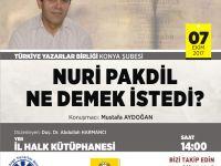 """TYB Konya Şubesi'nden """"Nuri Pakdil ne demek istedi?"""""""