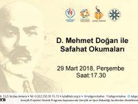 D. Mehmet Doğan ile Safahat Okumaları Genç Kahve'de Devam Ediyor